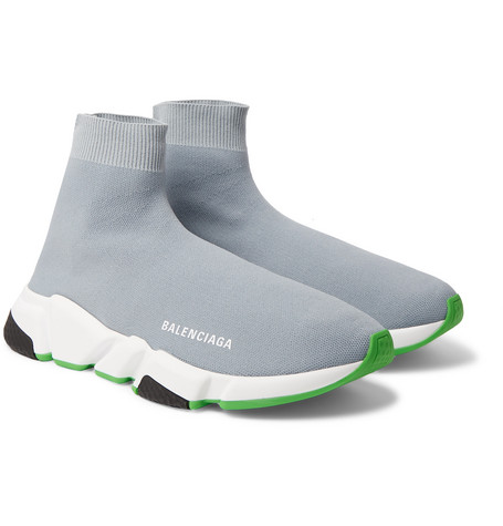 Balenciaga - Speed Sock Stretch-Knit Sneakers - Men - Gray