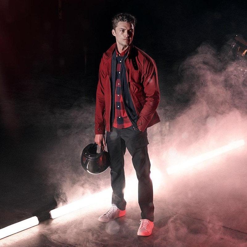 Front and center, Harvey Haydon sports a spring-summer 2019 look from Barbour International.