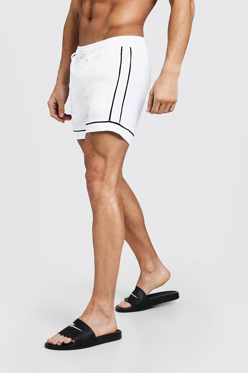 Boohoo Man Mid Length Swim Short Contrast Piping $15.40