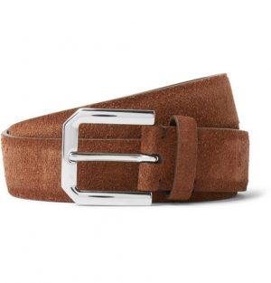 Brunello Cucinelli - 3cm Brown Suede Belt - Men - Tan