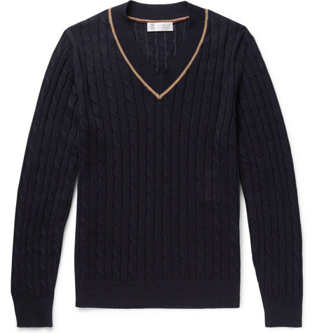 Brunello Cucinelli - Cable-Knit Linen and Cotton-Blend Sweater - Men - Midnight blue