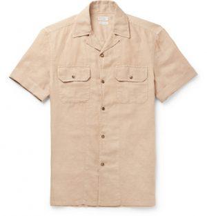 Brunello Cucinelli - Camp-Collar Linen and Cotton-Blend Shirt - Men - Beige