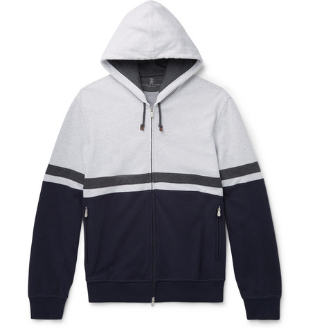 Brunello Cucinelli - Colour-Block Stretch-Cotton Jersey Zip-Up Hoodie - Men - Blue