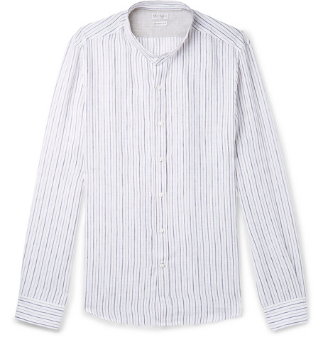 Brunello Cucinelli - Grandad-Collar Pinstriped Linen Shirt - Men - Blue