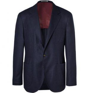 Brunello Cucinelli - Navy Unstructured Wool, Silk and Cashmere-Blend Blazer - Men - Navy