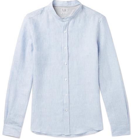 Brunello Cucinelli - Slim-Fit Grandad-Collar Pinstriped Linen Shirt - Men - Blue