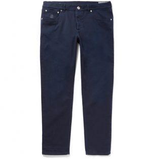 Brunello Cucinelli - Slim-Fit Stretch-Denim Jeans - Men - Navy
