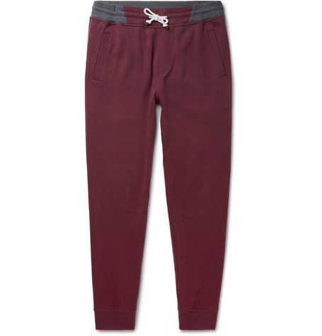 Brunello Cucinelli - Slim-Fit Tapered Loopback Cotton-Blend Jersey Sweatpants - Men - Burgundy
