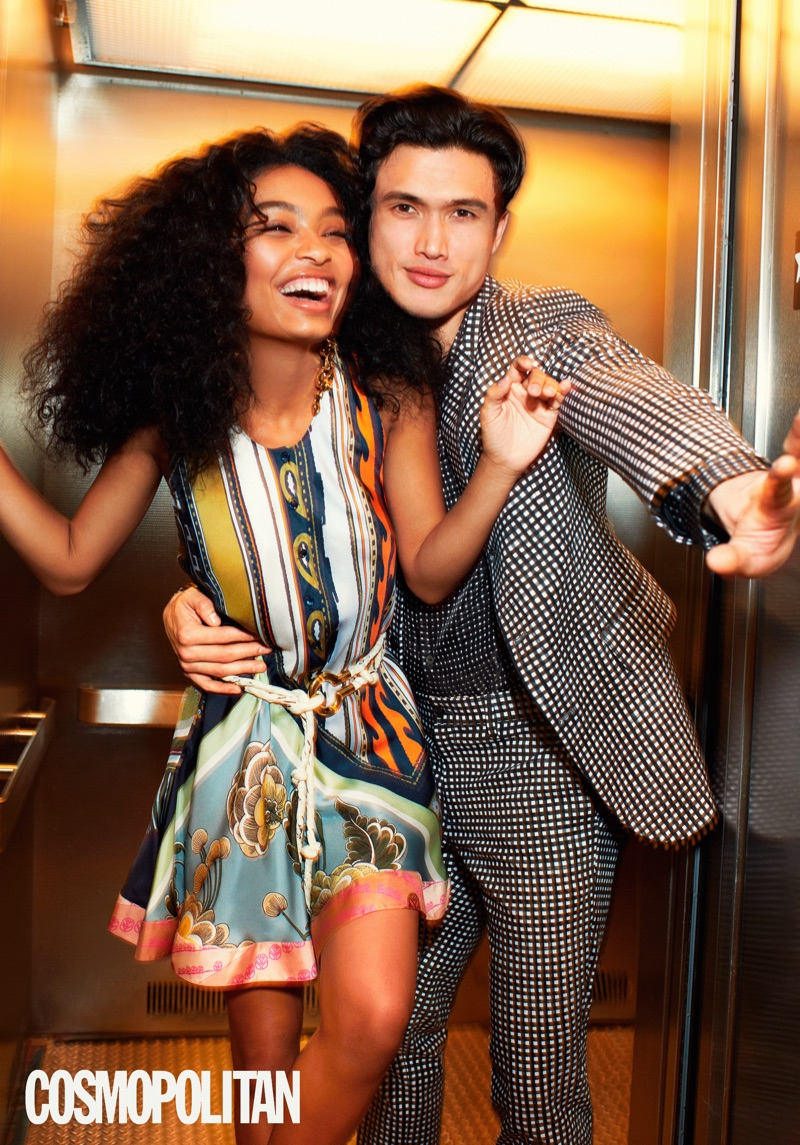 The Sun Is Also a Star actors Yara Shahidi and Charles Melton star in a photo shoot. A sharp vision in an all-over print, Melton wears Michael Kors.