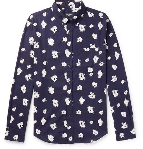 Club Monaco - Slim-Fit Button-Down Collar Printed Cotton Shirt - Men - Navy