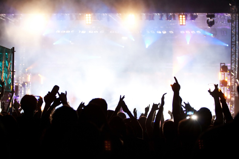 Concert Crowd with Lights