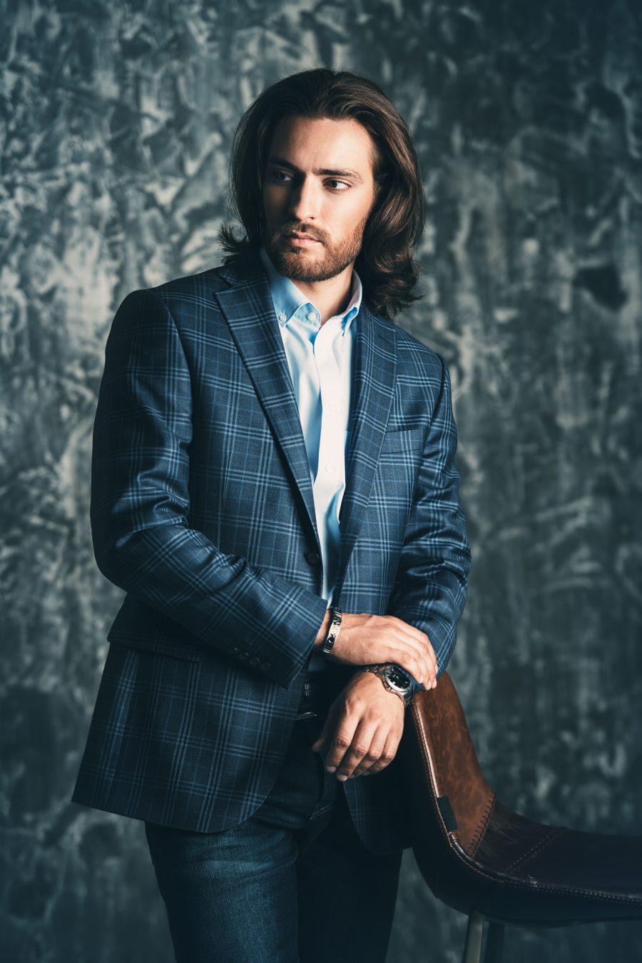 Dapper Male Model Check Suit Jacket