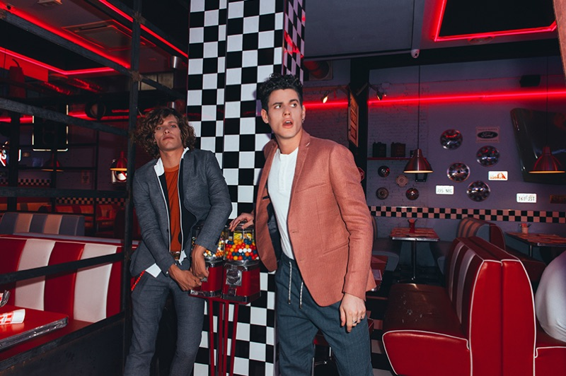 Models Umberto Manca and Raphaël Say appear in David Naman's spring-summer 2019 campaign.