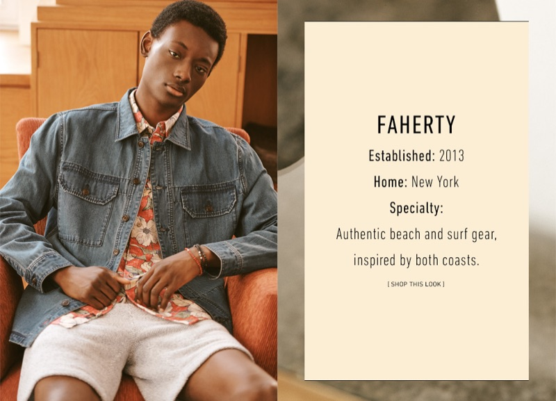 Youssouf Bamba sports a denim jacket, floral print shirt, and sweat shorts by Faherty. He also dons Mikia bracelets.