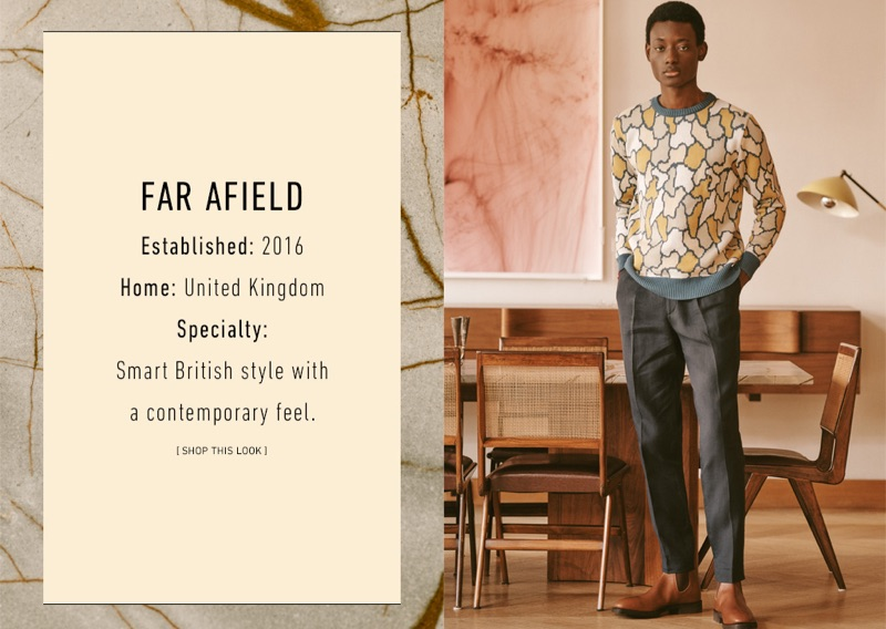Far Afield: Youssouf Bamba wears a Far Afield camouflage print sweater and linen pleated trousers. R.M. Williams leather Chelsea boots complete Youssouf's look.