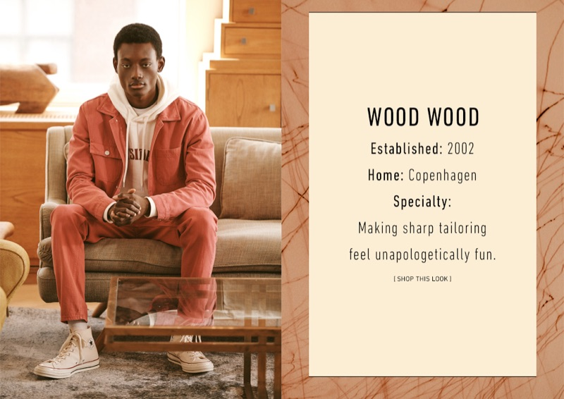 Wood Wood: Youssouf Bamba models a Wood Wood hoodie, denim jacket, colored jeans, and print tee. He also rocks Converse Chuck Taylor All Star '70s high-top sneakers.