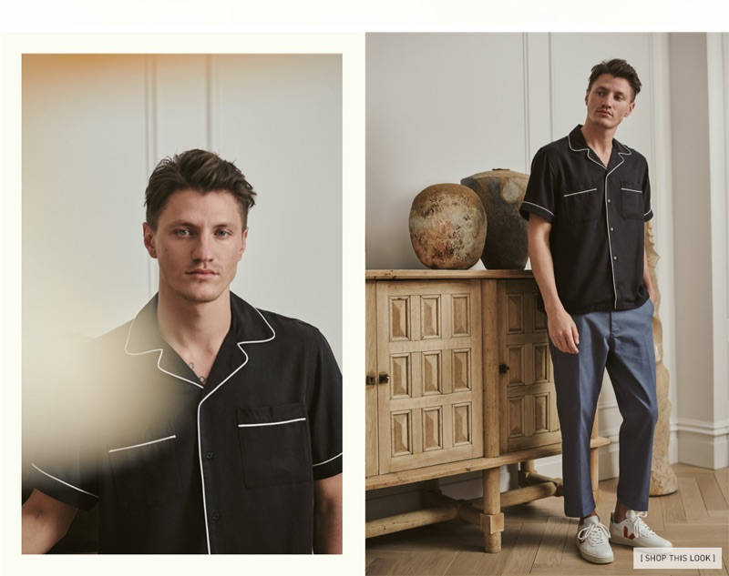 Updated Chinos: Eli Hall models a Saturdays NYC short-sleeve shirt with Obey chinos and Veja V-10 leather sneakers.
