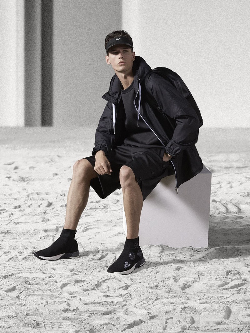 Nate Hill wears a casual spring-summer 2019 look from Emporio Armani.