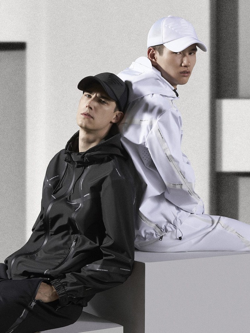 Julian Weigl and Kohei Takabatake sport black and white looks from Emporio Armani.