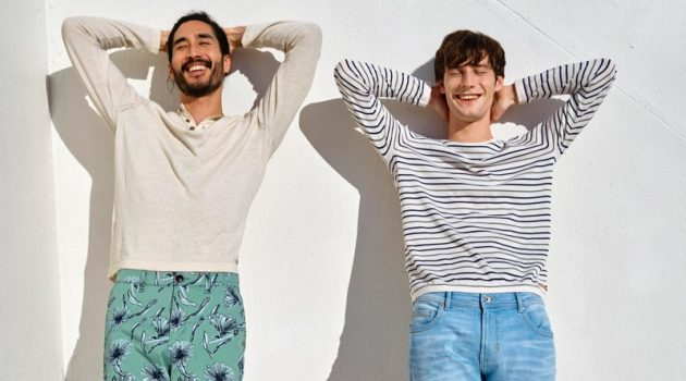 All smiles, Tony Thornburg and Matt Doran star in Esprit's spring-summer 2019 campaign.