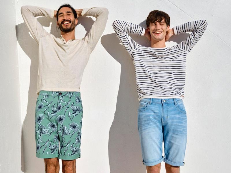 All smiles, Tony Thornburg and Matt Doran star in Esprit's spring-summer 2019 campaign.