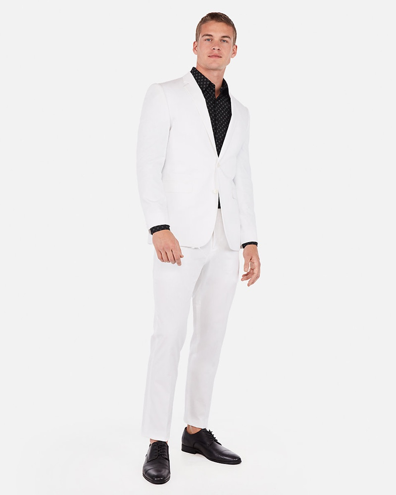Express Slim Cotton Blend Stretch Suit Jacket $228 and Suit Pant $98