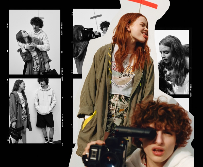 Sadie Sink and Finn Wolfhard model fashions from their Pull & Bear collaboration.