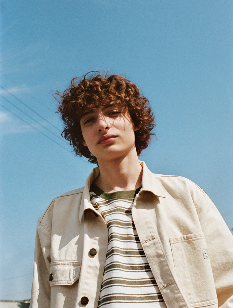 Heading outdoors, Finn Wolfhard sports a casual look from his Pull & Bear collaboration.
