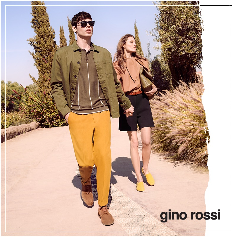 Models Bart Taylor and Jo Kruk appear in Gino Rossi's spring-summer 2019 campaign.