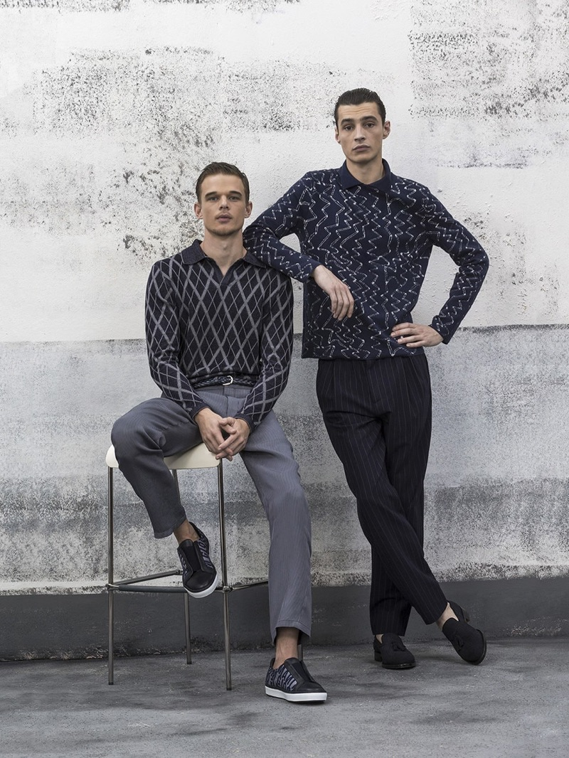 André Bona and Adrien Sahores star in Giorgio Armani's spring-summer 2019 lookbook.