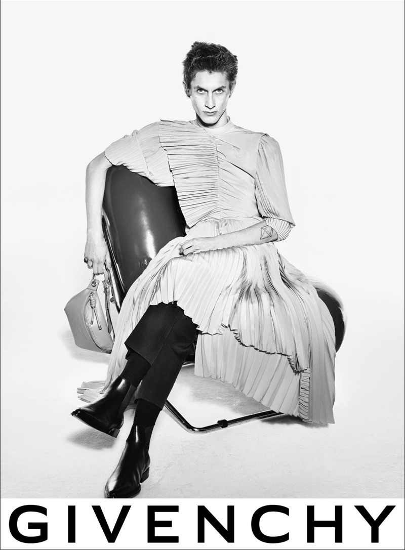 Embracing an androgynous appeal, Henry Kitcher appears in Givenchy's spring-summer 2019 campaign.