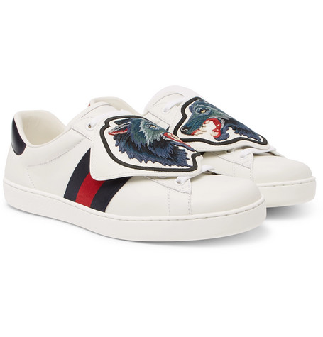 4a887eaa1 Gucci – Ace Embroidered Leather Sneakers – Men – White | The Fashionisto