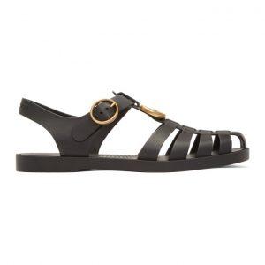 Gucci Black Glossy Rubber Sandals