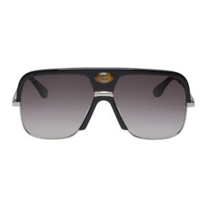 Gucci Black and Grey Double G Aviator Sunglasses