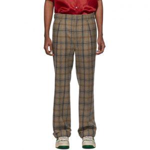 Gucci Brown Plaid Cuffed Trousers
