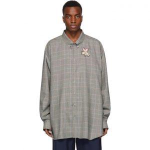Gucci Grey Plaid Flying Pig Shirt