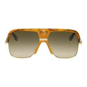 Gucci Tortoiseshell and Brown Double G Aviator Sunglasses