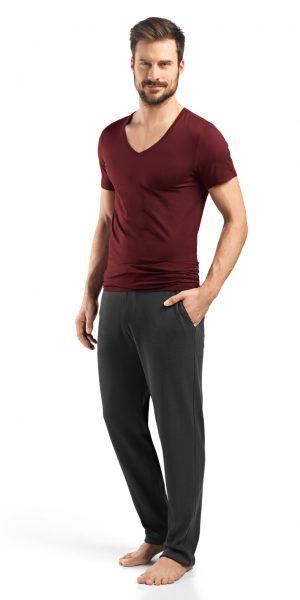 HANRO (73089) Cotton Superior V-Neck Shirt - Burgundy XL