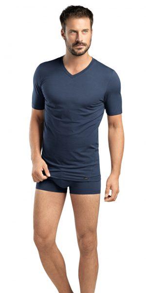 HANRO (74070) Liam Short Sleeve V-neck Shirt - Midnight Navy S