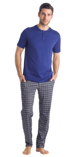 HANRO (75318) Night & Day Short Sleeve Henley Shirt - Brilliant Blue S
