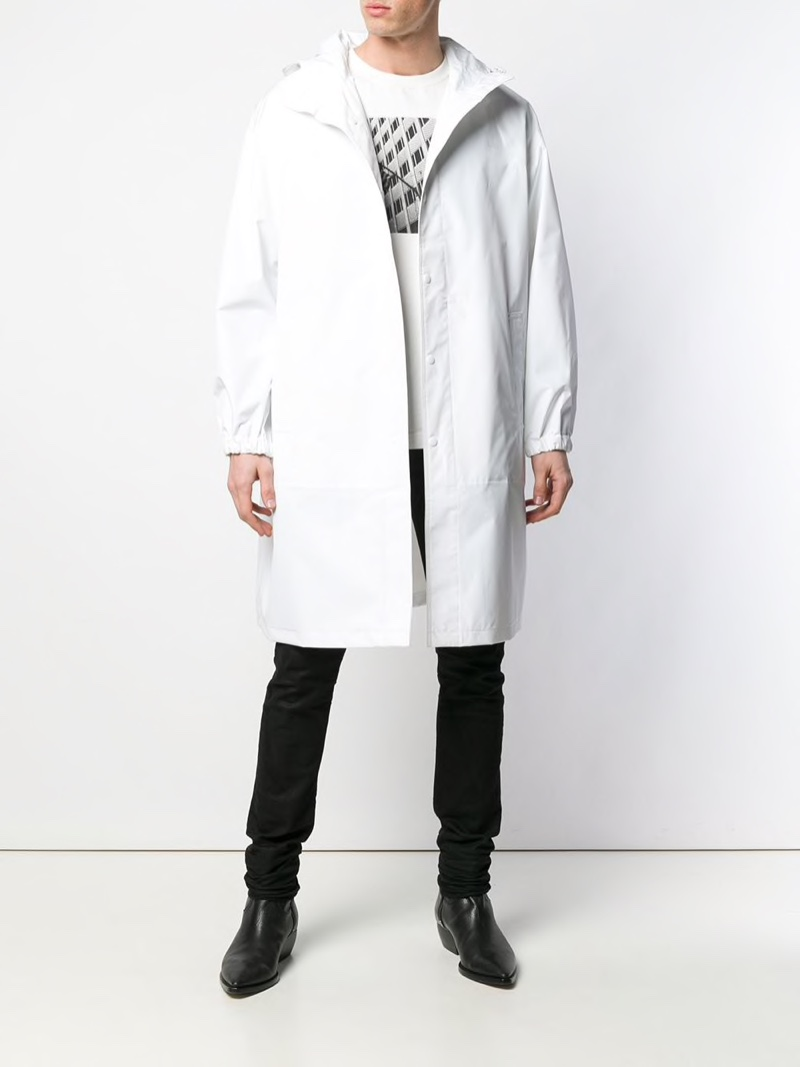 Helmut Lang Mid-Length Trench Coat in White $330