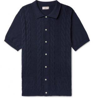 J.Crew - Wallace & Barnes Cable-Knit Cotton Cardigan - Men - Navy