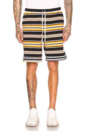 JOHN ELLIOTT Jacquard Basketball Shorts in Abstract,Black,Stripes,Yellow. - size M (also in )