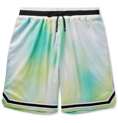 John Elliott - Tie-Dyed Mesh Drawstring Shorts - Men - Green