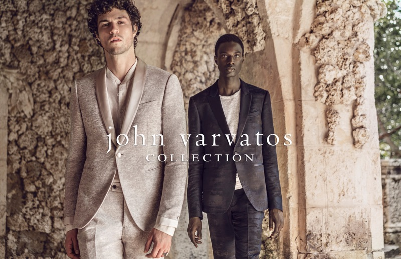 Models Miles McMillan and Aly Ndiaye don tailoring from John Varvatos.