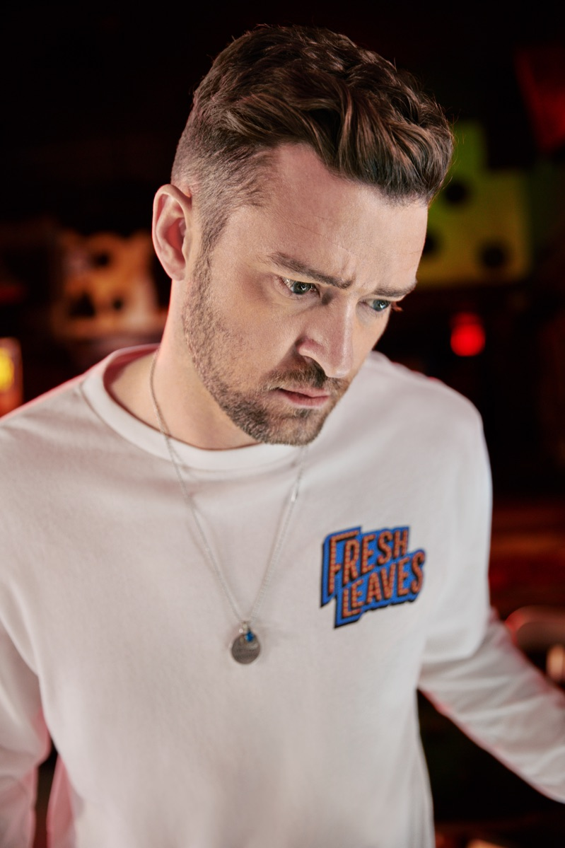Front and center, Justin Timberlake wears a Levi's Fresh Leaves long-sleeve graphic tee.