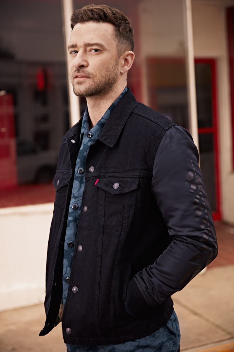 Singer Justin Timberlake wears a hybrid trucker jacket and military shirt from his Fresh Leaves Levi's collaboration.