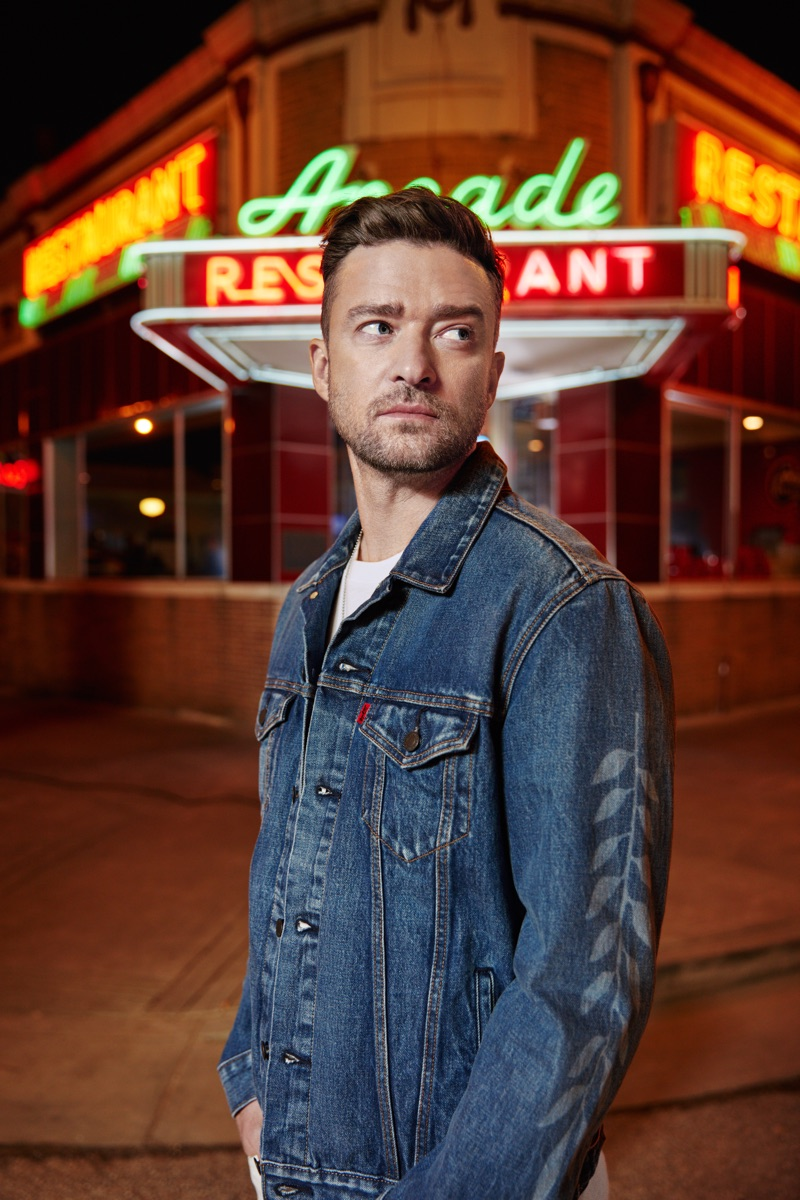 Collaborating with Levi's, Justin Timberlake wears a Fresh Leaves trucker jacket.