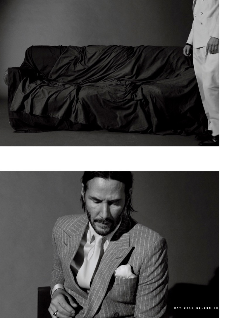 Connecting with GQ, Keanu Reeves wears a Richard Anderson pinstripe suit, Giorgio Armani shirt, Charvet tie, Hilditch & Key pocket square and accessories by Tiffany & Co.