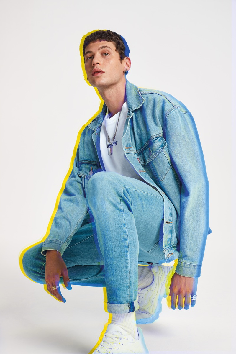 Doubling down on denim, Francesco Cuizza wears Levi's advanced stretch 512 slim taper Jafar jeans for the brand's spring-summer 2019 campaign.